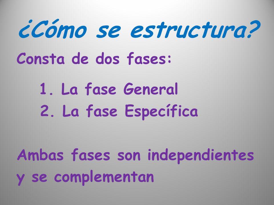 ¿Cómo se estructura Consta de dos fases: 1. La fase General 2. La fase Específica Ambas fases son independientes y se complementan