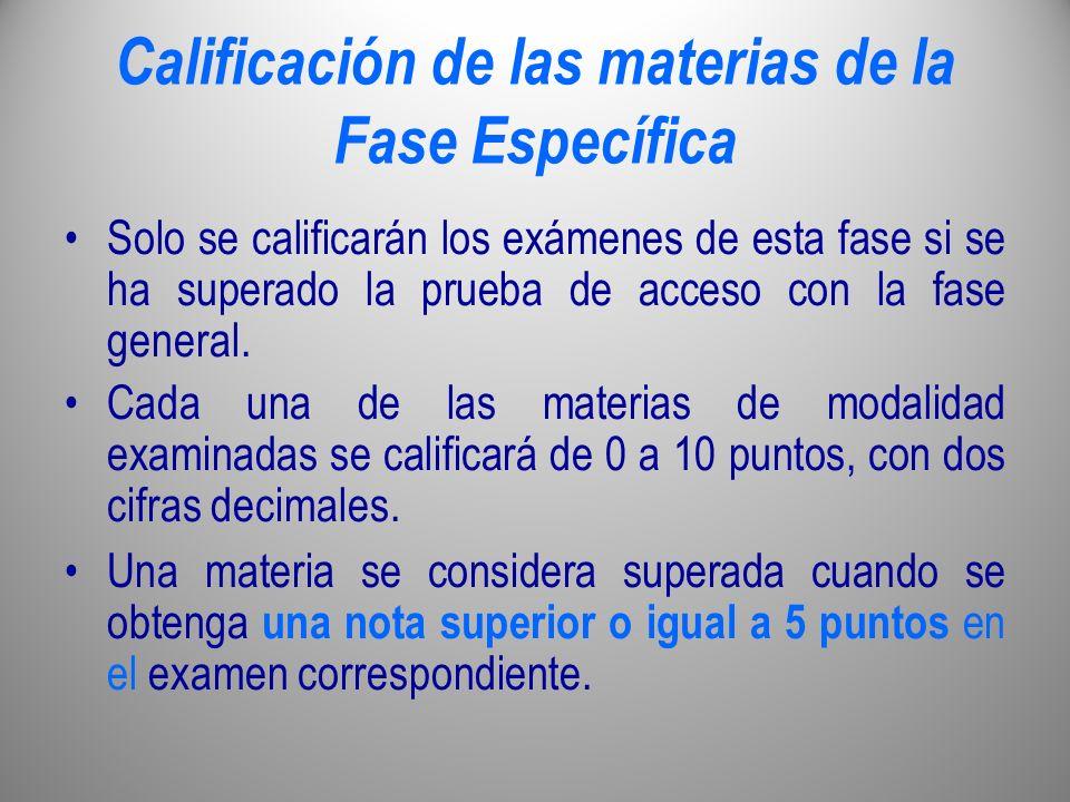 Calificación de las materias de la Fase Específica