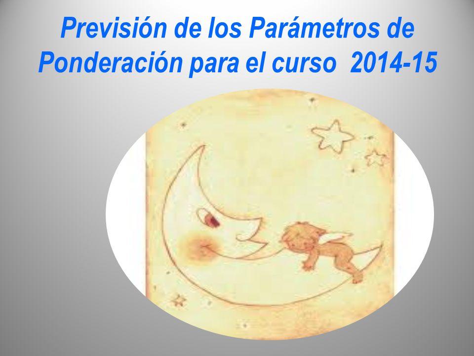 Previsión de los Parámetros de Ponderación para el curso 2014-15