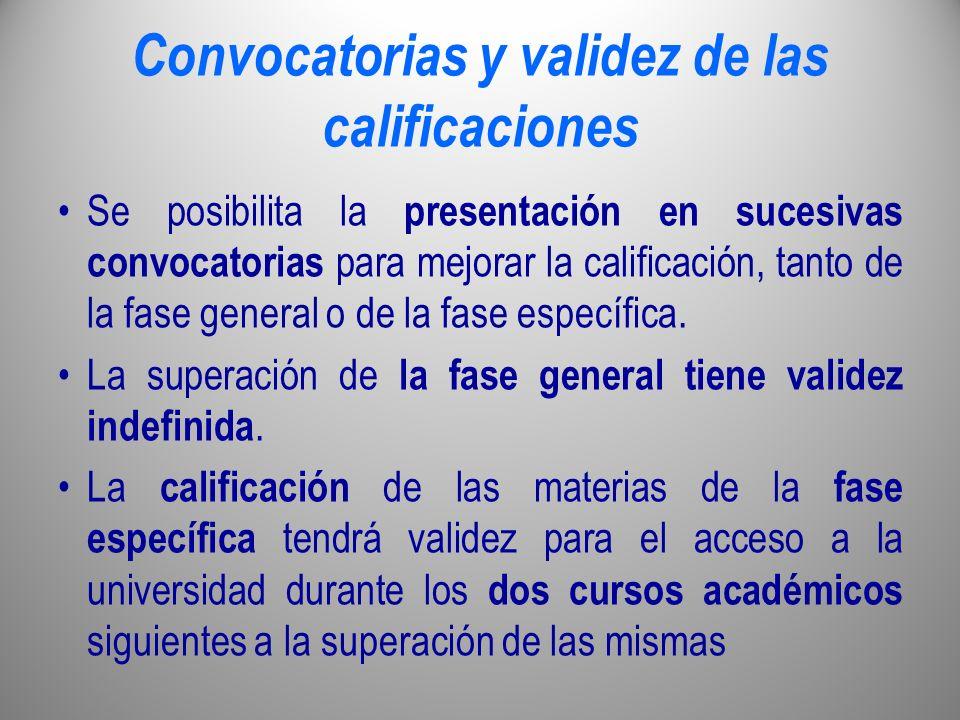 Convocatorias y validez de las calificaciones