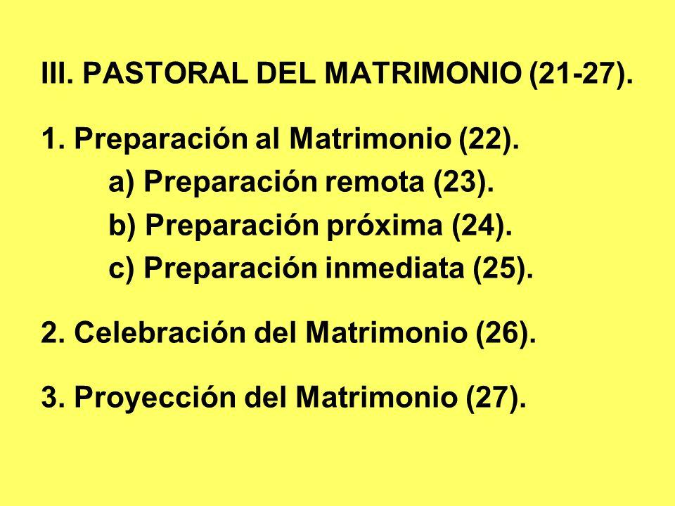 III. PASTORAL DEL MATRIMONIO (21-27).