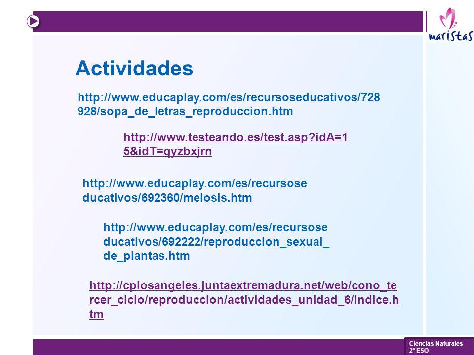 Actividades http://www.educaplay.com/es/recursoseducativos/728928/sopa_de_letras_reproduccion.htm.