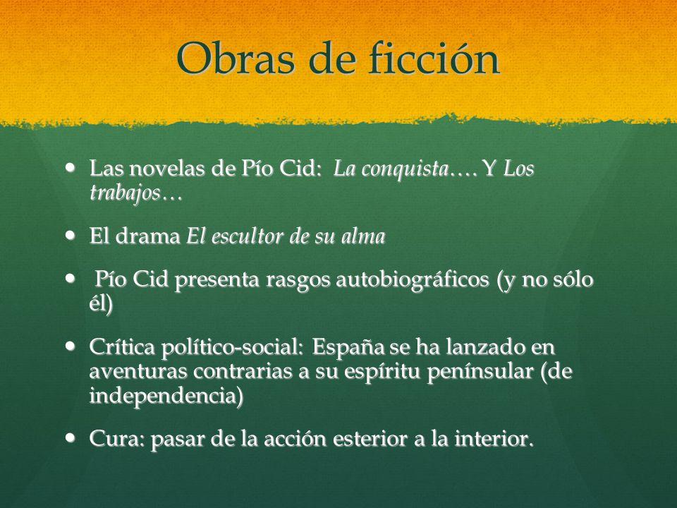 Obras de ficción Las novelas de Pío Cid: La conquista…. Y Los trabajos… El drama El escultor de su alma.
