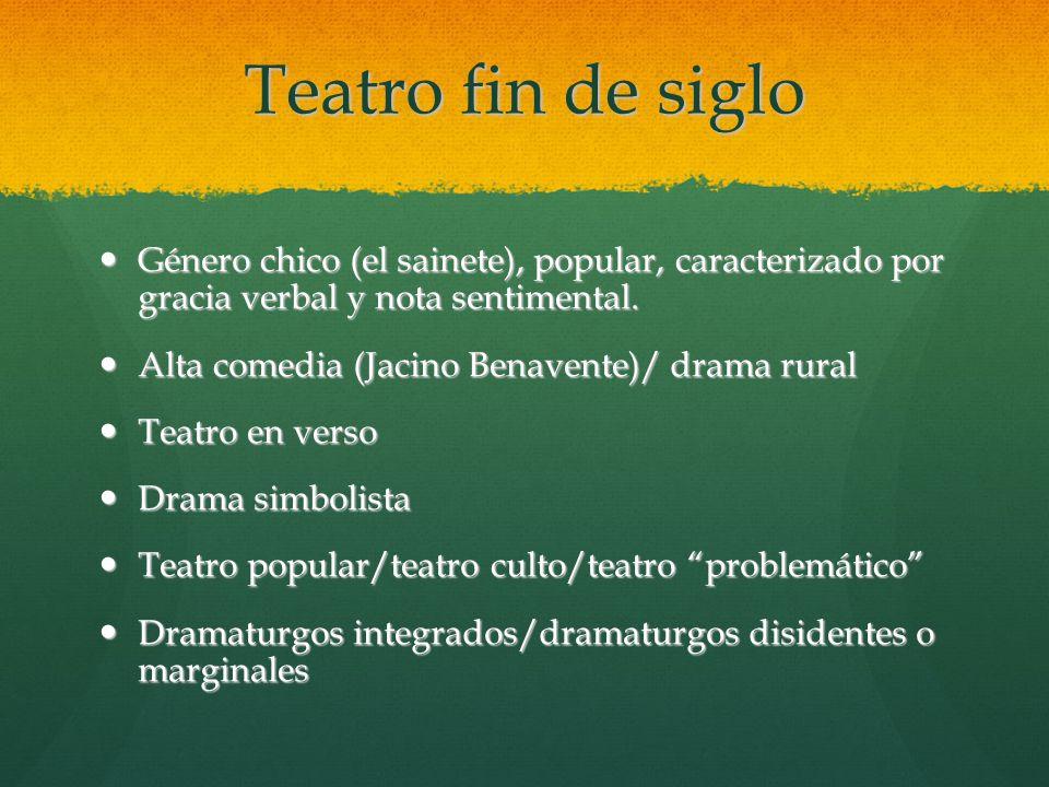 Teatro fin de siglo Género chico (el sainete), popular, caracterizado por gracia verbal y nota sentimental.
