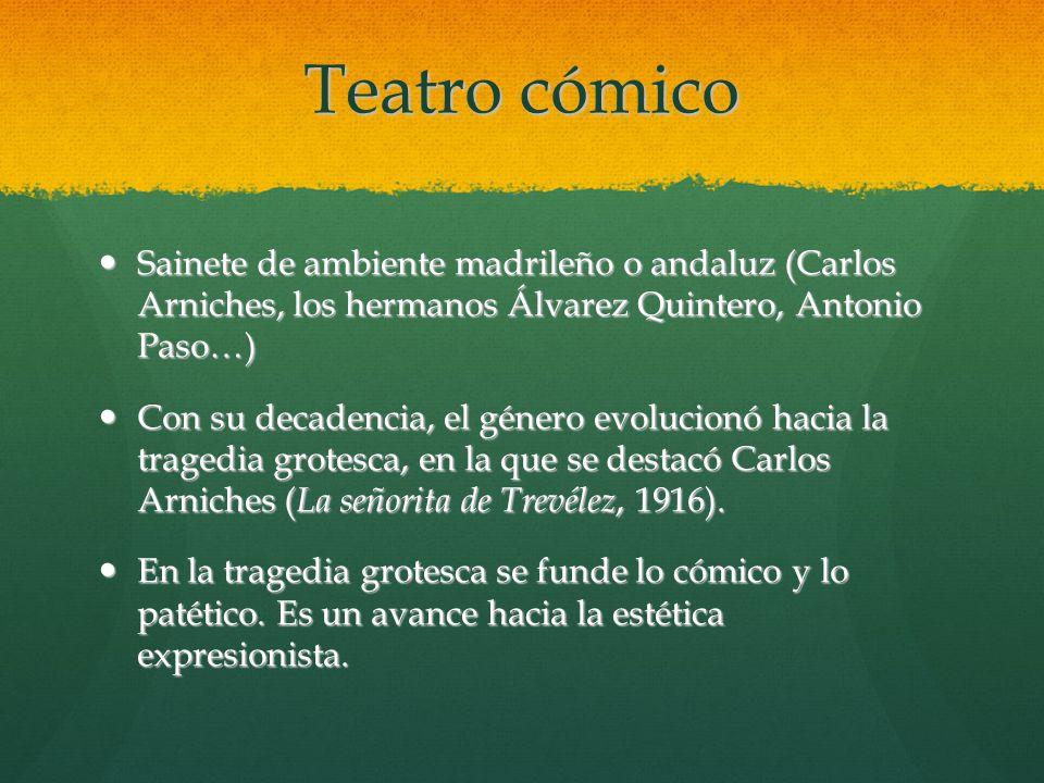 Teatro cómico Sainete de ambiente madrileño o andaluz (Carlos Arniches, los hermanos Álvarez Quintero, Antonio Paso…)