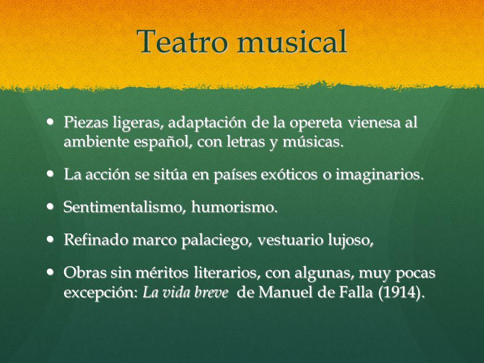 Teatro musical Piezas ligeras, adaptación de la opereta vienesa al ambiente español, con letras y músicas.