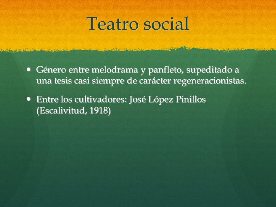 Teatro social Género entre melodrama y panfleto, supeditado a una tesis casi siempre de carácter regeneracionistas.