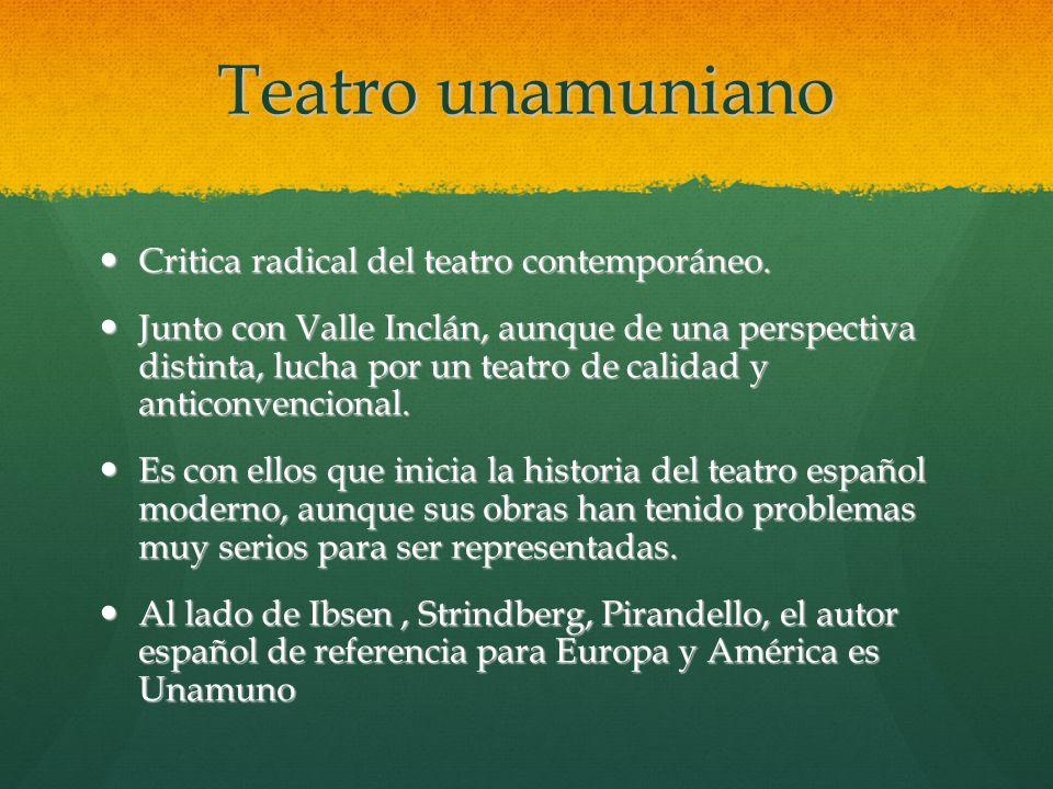 Teatro unamuniano Critica radical del teatro contemporáneo.