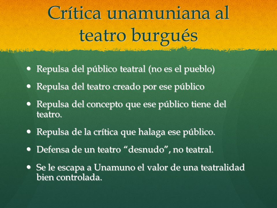 Crítica unamuniana al teatro burgués