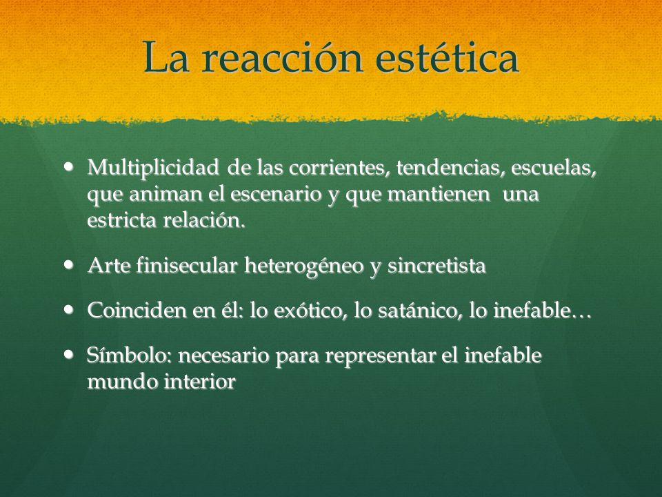 La reacción estética Multiplicidad de las corrientes, tendencias, escuelas, que animan el escenario y que mantienen una estricta relación.