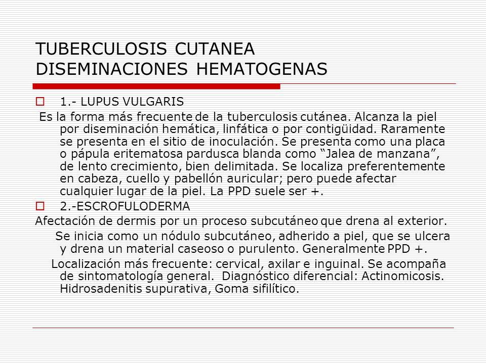 TUBERCULOSIS CUTANEA DISEMINACIONES HEMATOGENAS