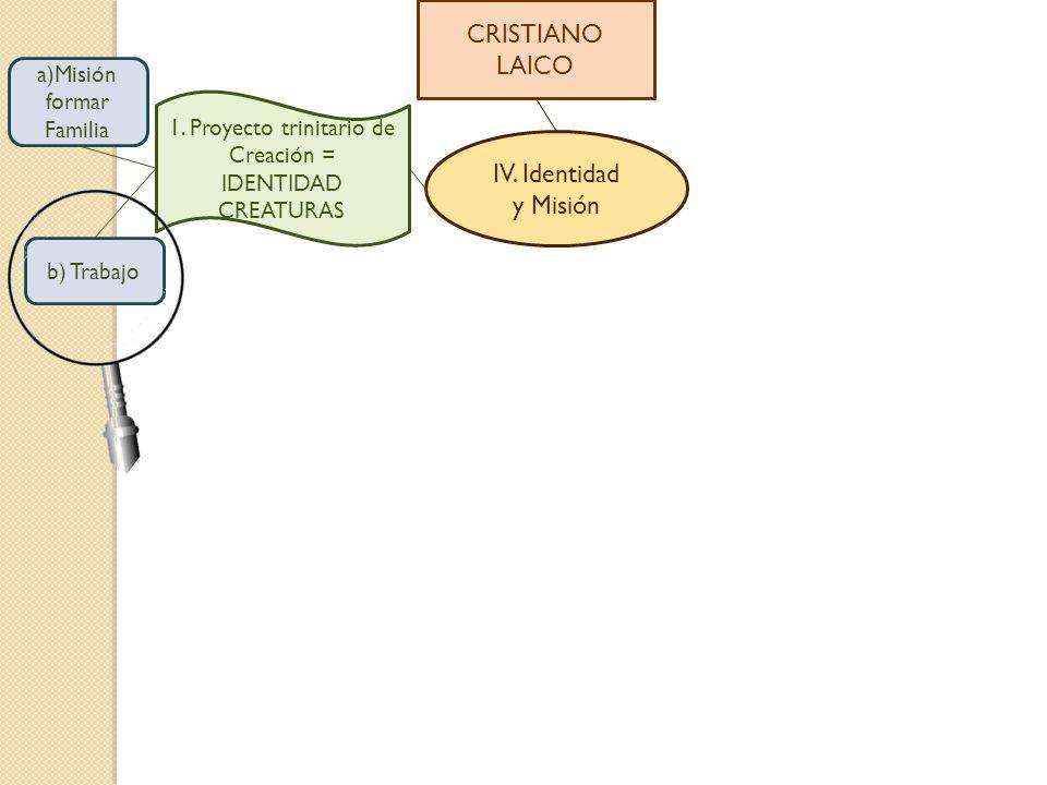 CRISTIANO LAICO IV. Identidad y Misión a)Misión formar Familia