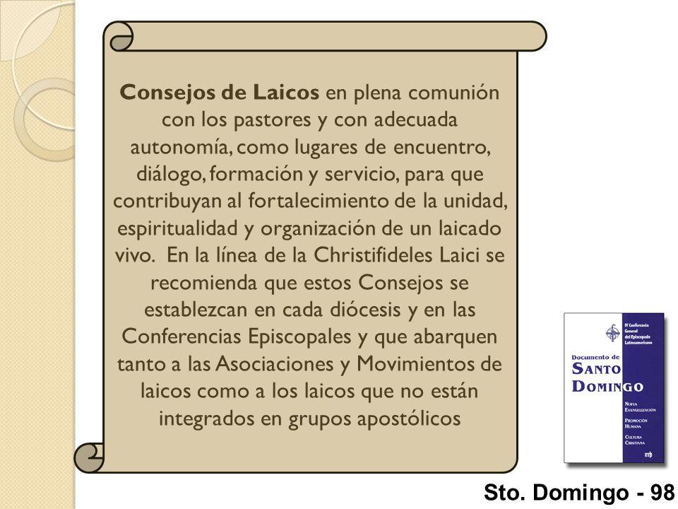Consejos de Laicos en plena comunión con los pastores y con adecuada autonomía, como lugares de encuentro, diálogo, formación y servicio, para que contribuyan al fortalecimiento de la unidad, espiritualidad y organización de un laicado vivo. En la línea de la Christifideles Laici se recomienda que estos Consejos se establezcan en cada diócesis y en las Conferencias Episcopales y que abarquen tanto a las Asociaciones y Movimientos de laicos como a los laicos que no están integrados en grupos apostólicos