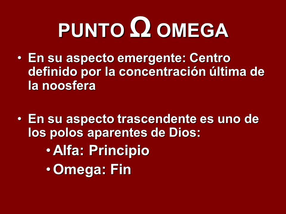 PUNTO Ω OMEGA Alfa: Principio Omega: Fin