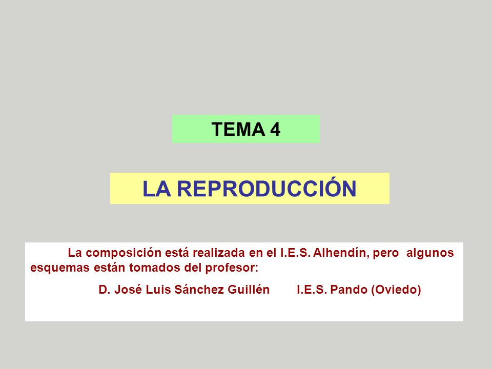 TEMA 4 LA REPRODUCCIÓN. La composición está realizada en el I.E.S. Alhendín, pero algunos esquemas están tomados del profesor: