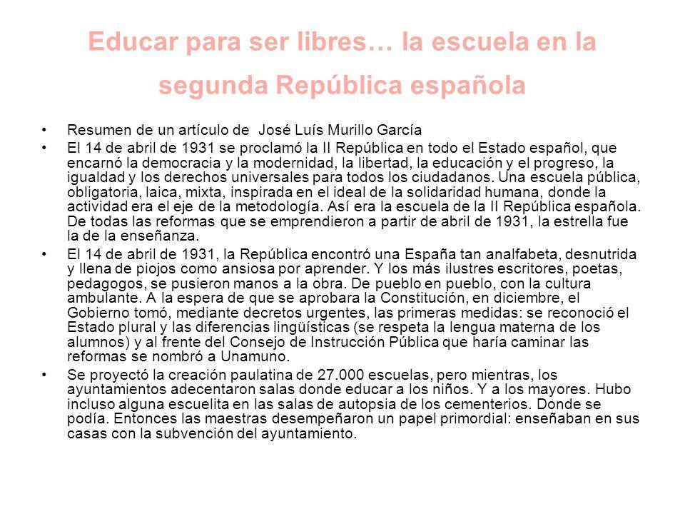 Educar para ser libres… la escuela en la segunda República española