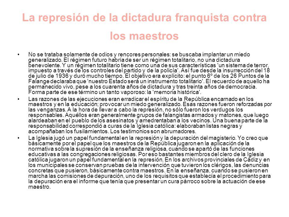 La represión de la dictadura franquista contra los maestros