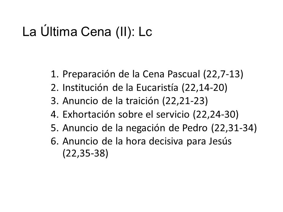 La Última Cena (II): Lc Preparación de la Cena Pascual (22,7-13)
