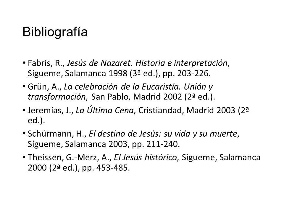 Bibliografía Fabris, R., Jesús de Nazaret. Historia e interpretación, Sígueme, Salamanca 1998 (3ª ed.), pp. 203-226.