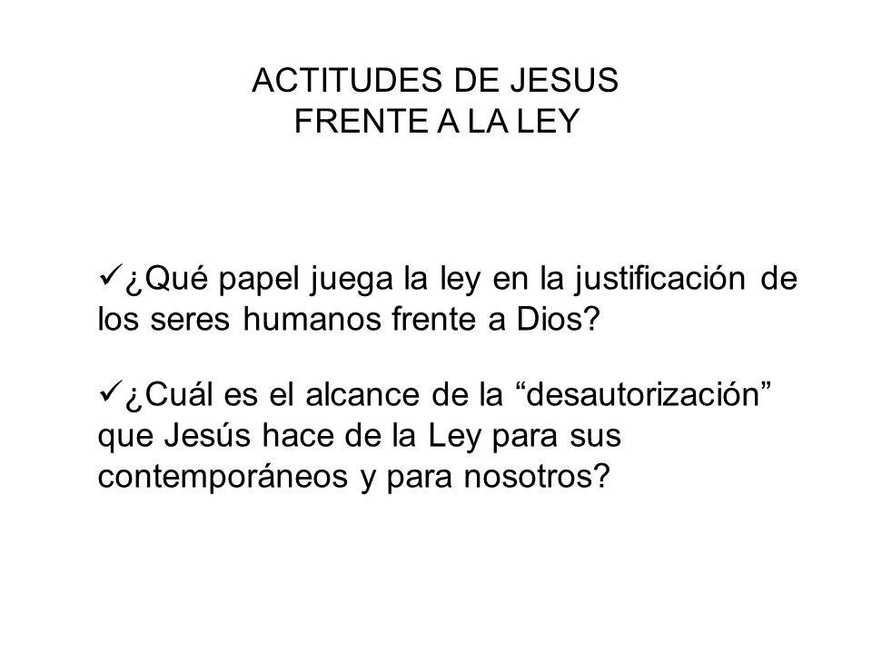 ACTITUDES DE JESUS FRENTE A LA LEY. ¿Qué papel juega la ley en la justificación de los seres humanos frente a Dios