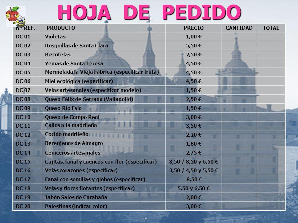 HOJA DE PEDIDO Nº REF. PRODUCTO PRECIO CANTIDAD TOTAL DC 01 Violetas