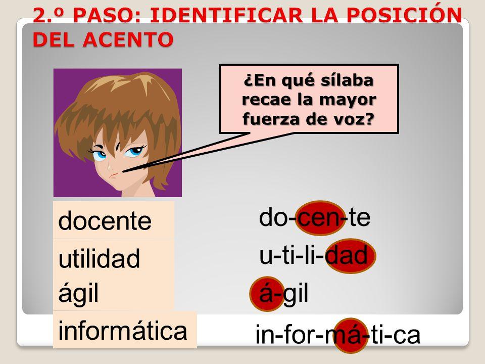 2.º PASO: IDENTIFICAR LA POSICIÓN DEL ACENTO