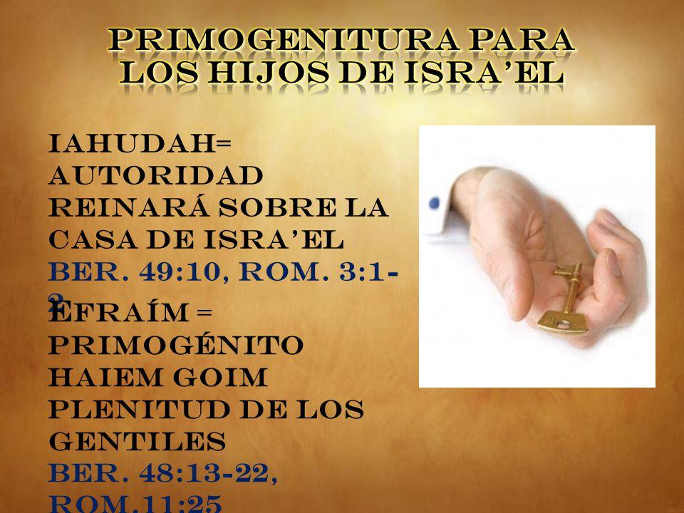 PRIMOGENITURA PARA LOS HIJOS DE ISRA'EL