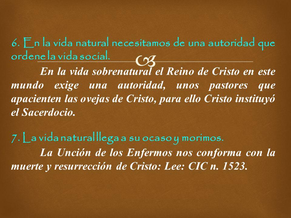 6. En la vida natural necesitamos de una autoridad que ordene la vida social.