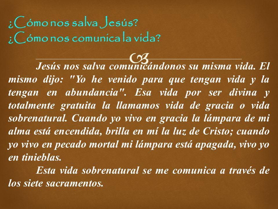 ¿Cómo nos salva Jesús ¿Cómo nos comunica la vida