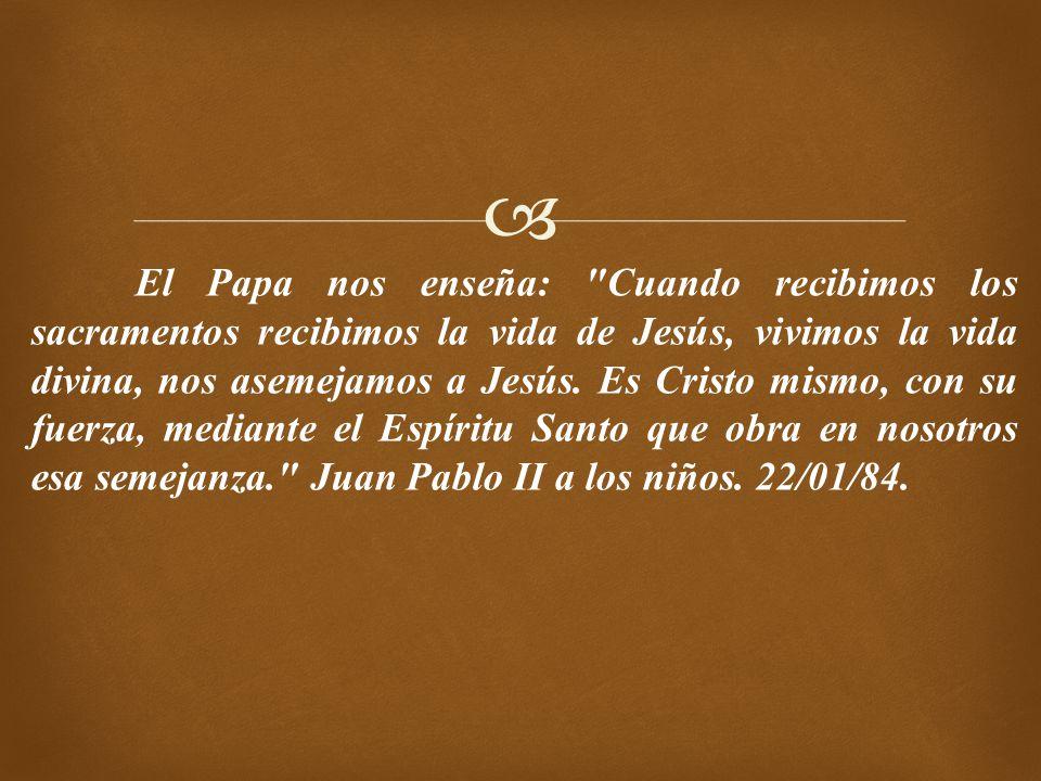 El Papa nos enseña: Cuando recibimos los sacramentos recibimos la vida de Jesús, vivimos la vida divina, nos asemejamos a Jesús.