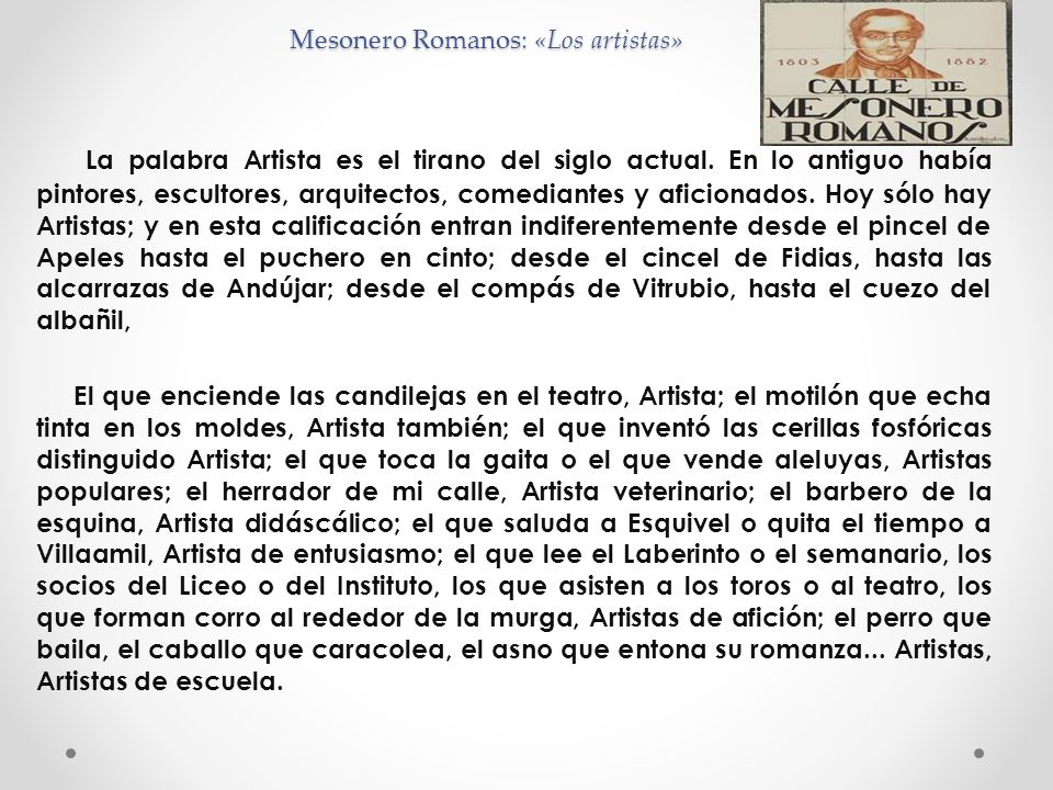 Mesonero Romanos: «Los artistas»