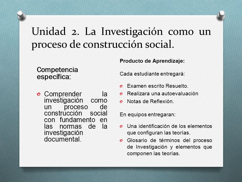 Unidad 2. La Investigación como un proceso de construcción social.