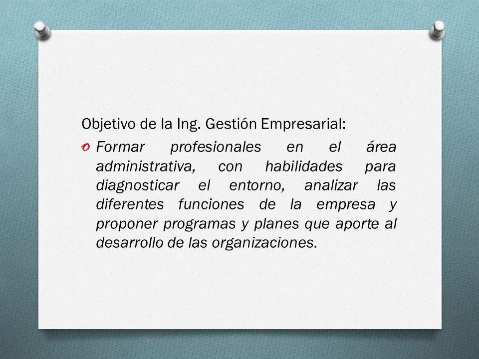 Objetivo de la Ing. Gestión Empresarial: