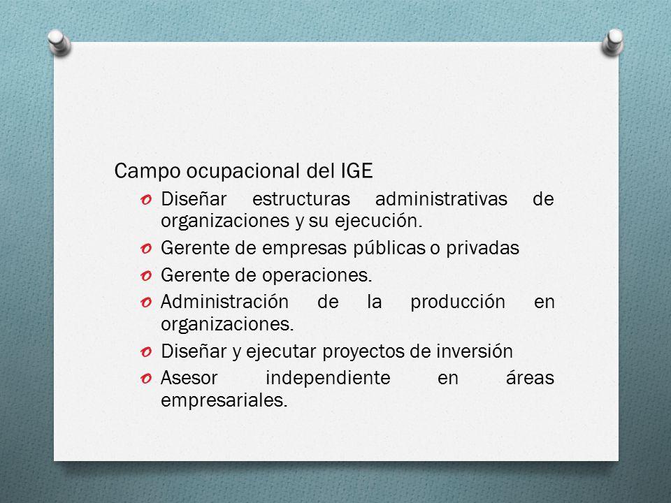 Campo ocupacional del IGE