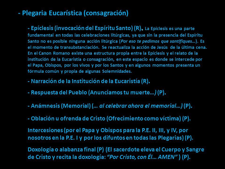 - Plegaria Eucarística (consagración)