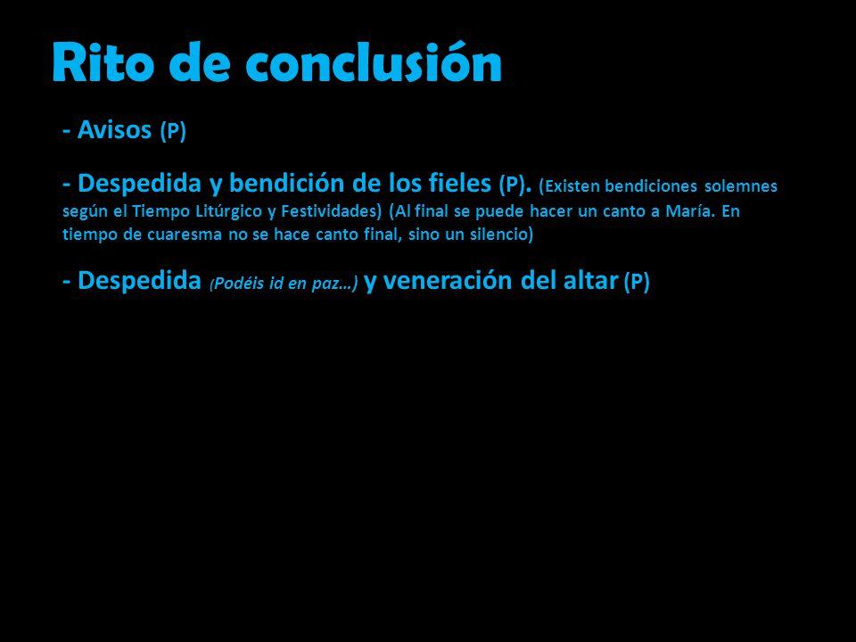 Rito de conclusión - Avisos (P)