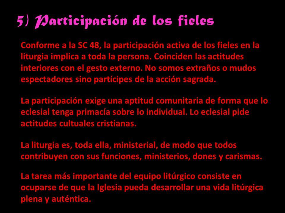 5) Participación de los fieles