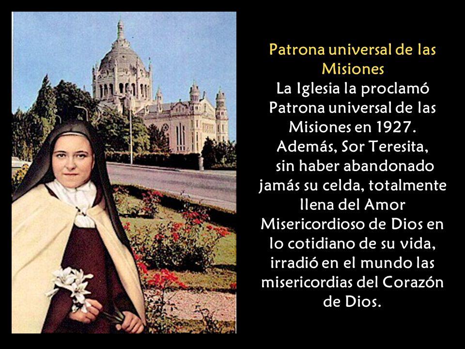 Patrona universal de las Misiones La Iglesia la proclamó Patrona universal de las Misiones en 1927.