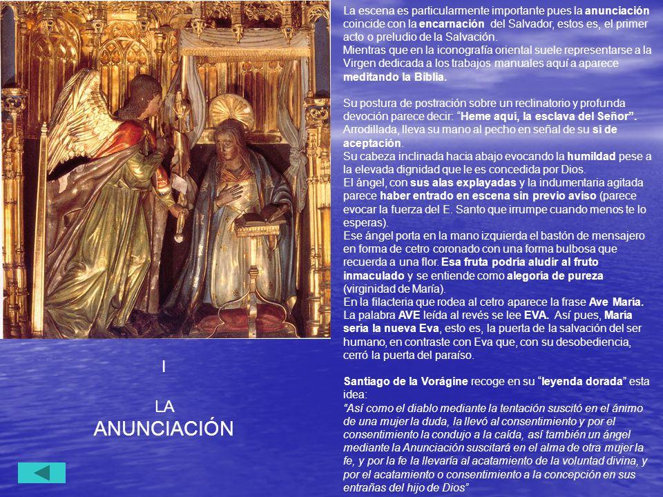 La escena es particularmente importante pues la anunciación coincide con la encarnación del Salvador, estos es, el primer acto o preludio de la Salvación.