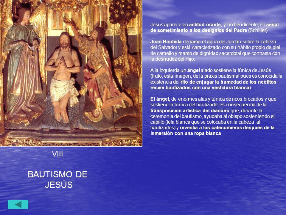 Jesús aparece en actitud orante, y no bendicente, en señal de sometimiento a los designios del Padre (Schiller).