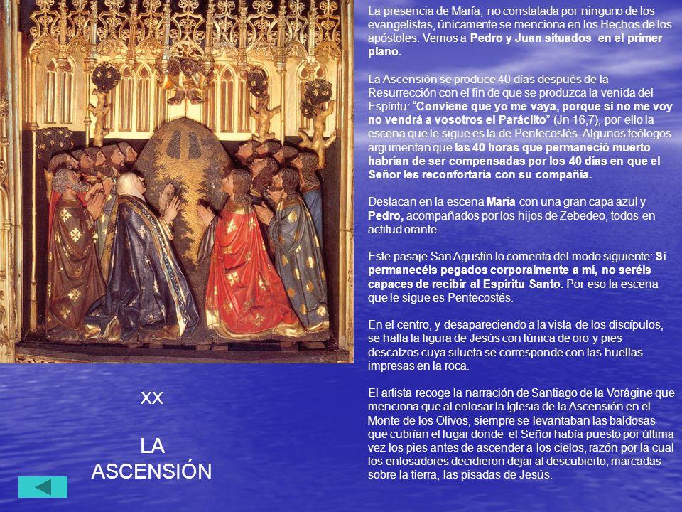 La presencia de María, no constatada por ninguno de los evangelistas, únicamente se menciona en los Hechos de los apóstoles. Vemos a Pedro y Juan situados en el primer plano.
