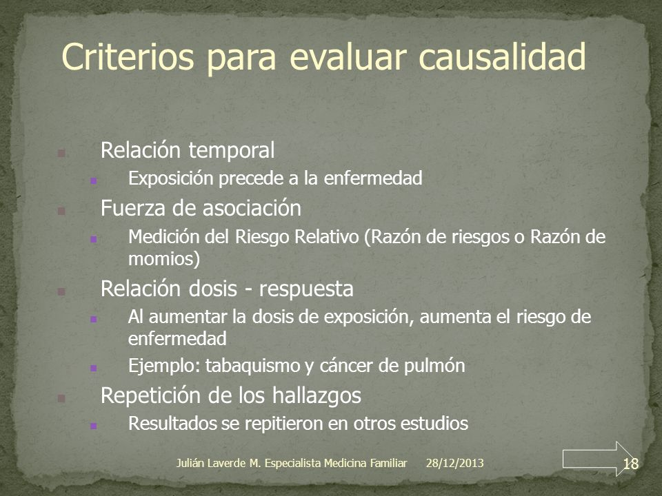 Criterios para evaluar causalidad