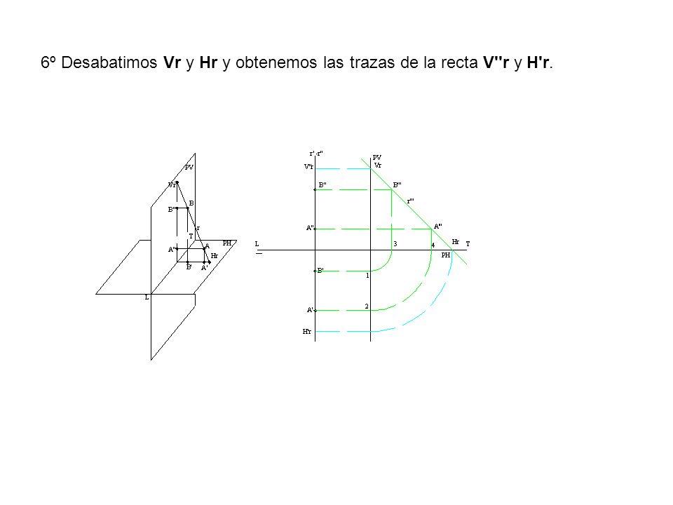 6º Desabatimos Vr y Hr y obtenemos las trazas de la recta V r y H r.