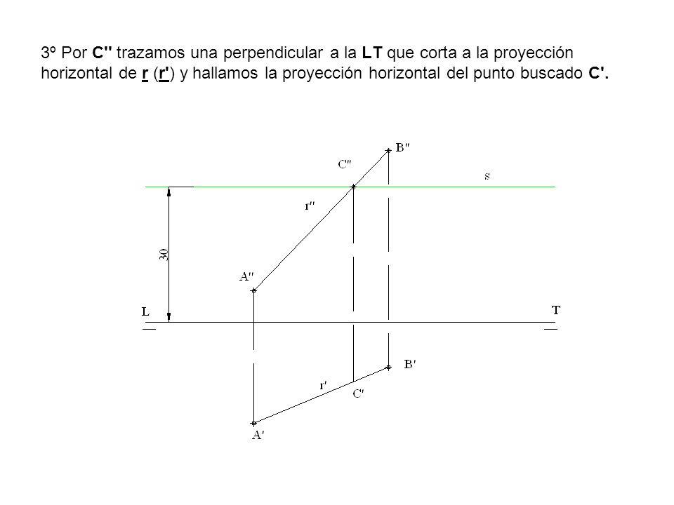 3º Por C trazamos una perpendicular a la LT que corta a la proyección horizontal de r (r ) y hallamos la proyección horizontal del punto buscado C .
