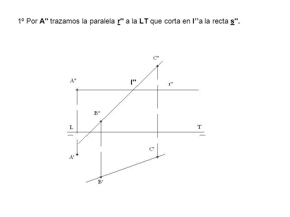 1º Por A trazamos la paralela r a la LT que corta en I''a la recta s .