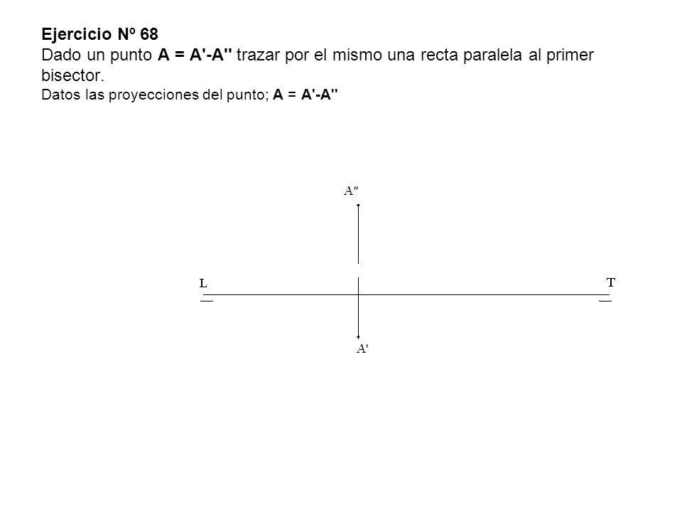 Ejercicio Nº 68 Dado un punto A = A -A trazar por el mismo una recta paralela al primer bisector.