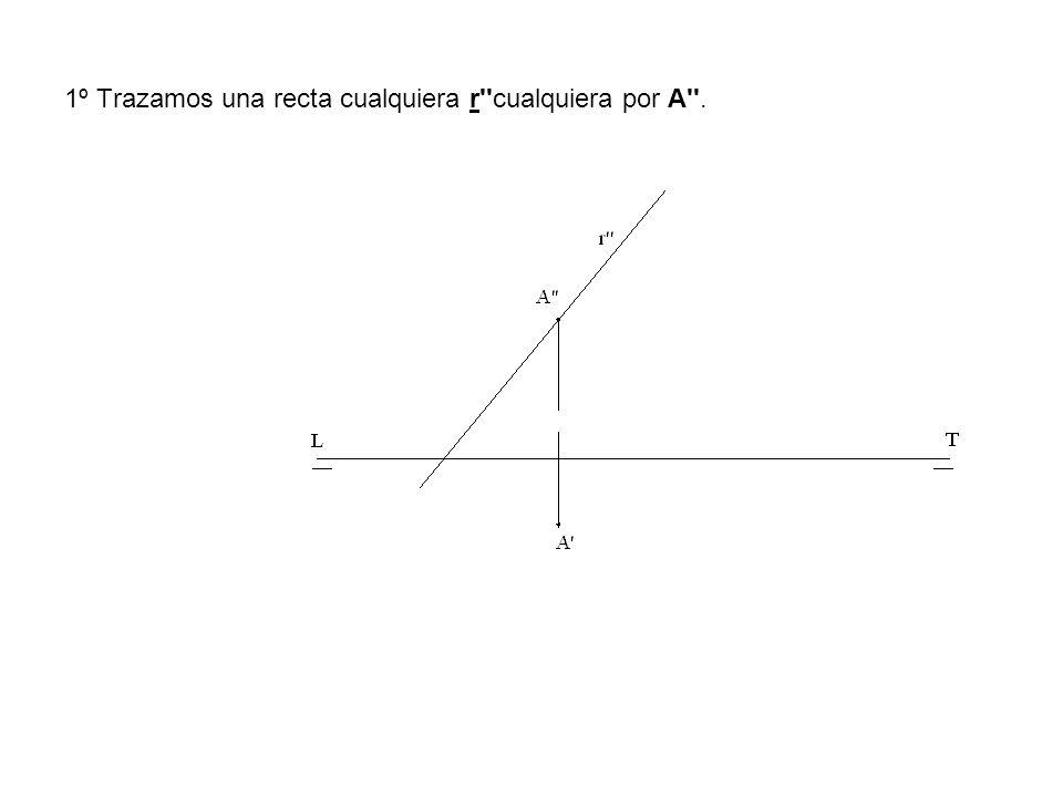 1º Trazamos una recta cualquiera r cualquiera por A .