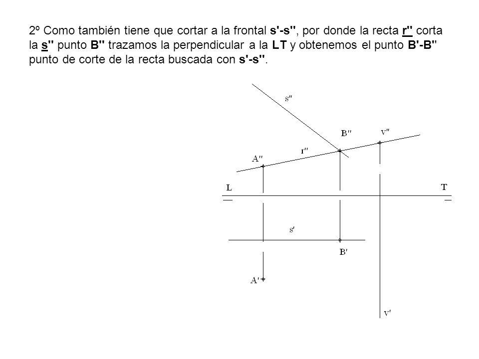 2º Como también tiene que cortar a la frontal s -s , por donde la recta r corta la s punto B trazamos la perpendicular a la LT y obtenemos el punto B -B punto de corte de la recta buscada con s -s .