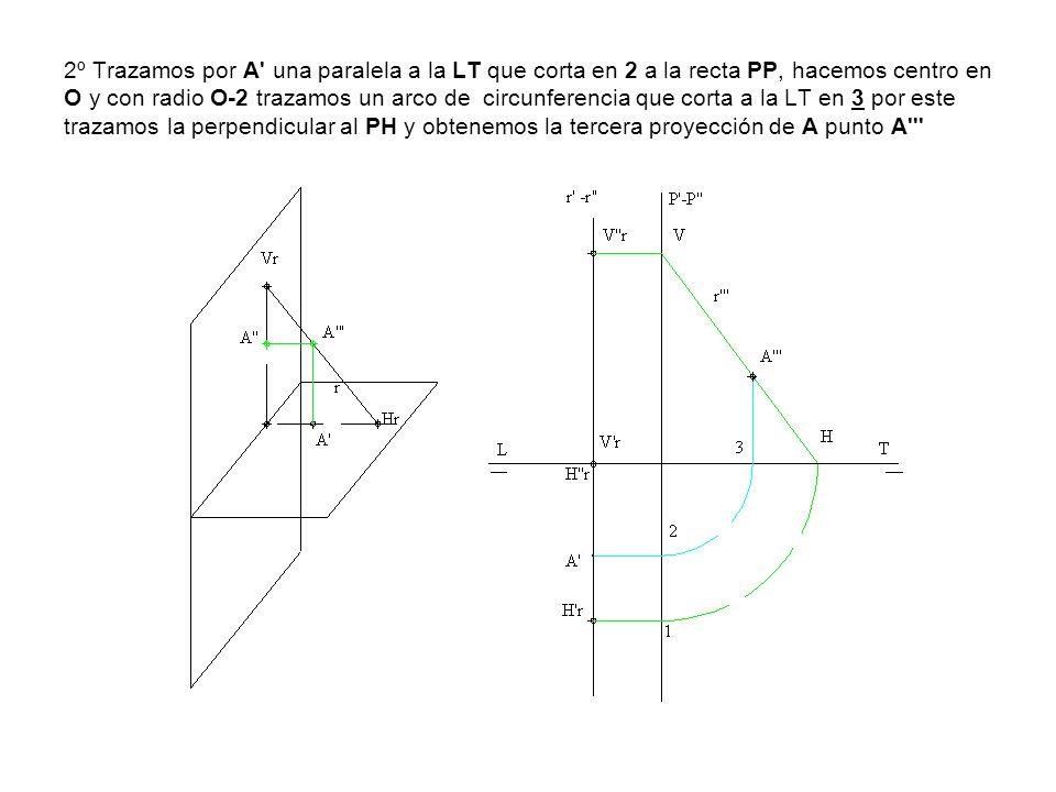 2º Trazamos por A una paralela a la LT que corta en 2 a la recta PP, hacemos centro en O y con radio O-2 trazamos un arco de circunferencia que corta a la LT en 3 por este trazamos la perpendicular al PH y obtenemos la tercera proyección de A punto A