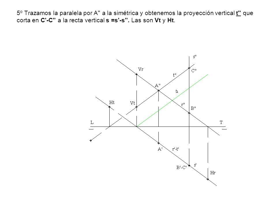 5º Trazamos la paralela por A a la simétrica y obtenemos la proyección vertical t que corta en C -C a la recta vertical s =s -s .